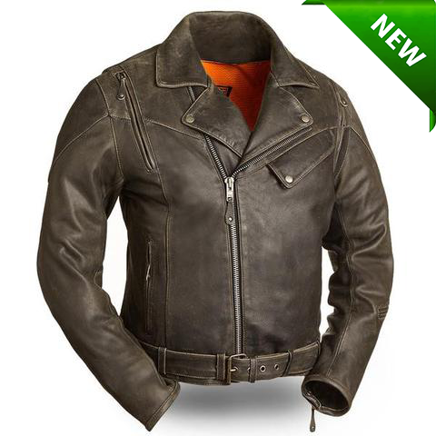 29dc6a77f Men's Motorcycle updated biker old school leather jacket police style with  belt