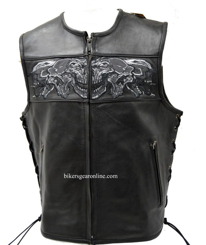 MEN'S SKULL LEATHER VEST WITH REFLECTIVE FEATURE W/2GUN POCKETS & SIDE LACES