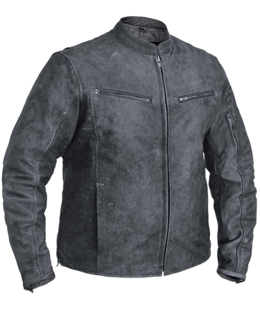 Men's Motorcycle riding Distressed Tombstone Grey Vented leather jacket with 2 Gun pockets inside