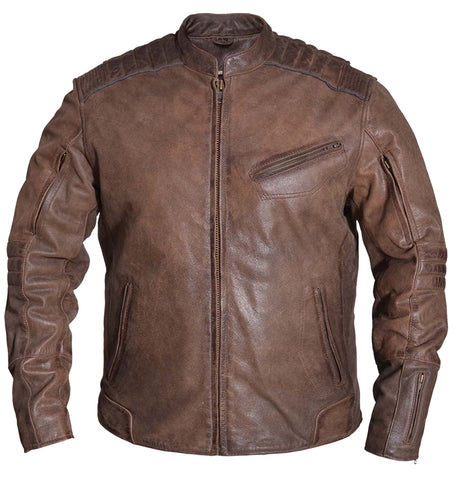 Mens Motorcycle Vintage Brown Close out price Reflective Kidney Padding Leather Jacket