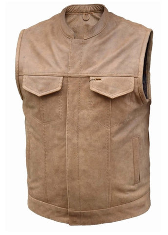 Men's Riding Son of anarcy tan saddle color leather vest with front zipper
