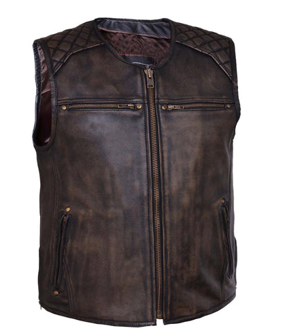 Men's Retro Brn Montana 6 Pocket Premium Leather Vest