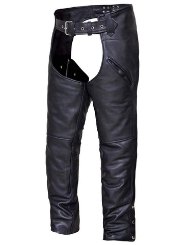 Unisex Motorcycle Cow Hide Thick Leather Chap with Slant Pocket Very Cheap price