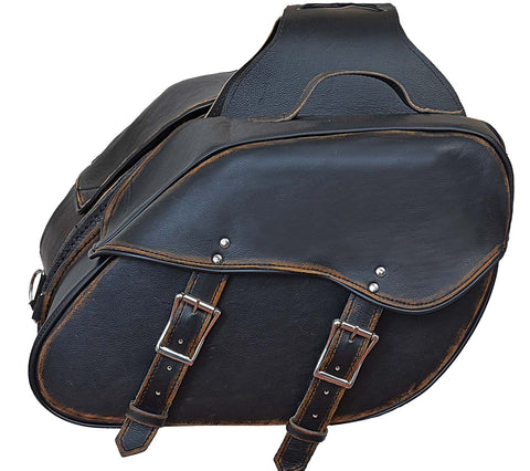 Motorcycle Riding 2 Pc Blk Antiqe Rub off Genuine Leather Throw over Saddlebag with quick release