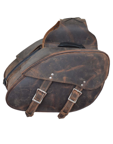 Motorcycle 2 Pc waterproof Distressed Brown Real Leather saddlebag luggage