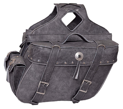 Motorcycle Large Studed 100% Real Leather Distressed Gray 2 Strap Conchos Saddlebag