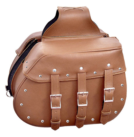 Motorcycle Large Saddle Tan color Studed 3 Strap Real leather Saddlebag Waterproof