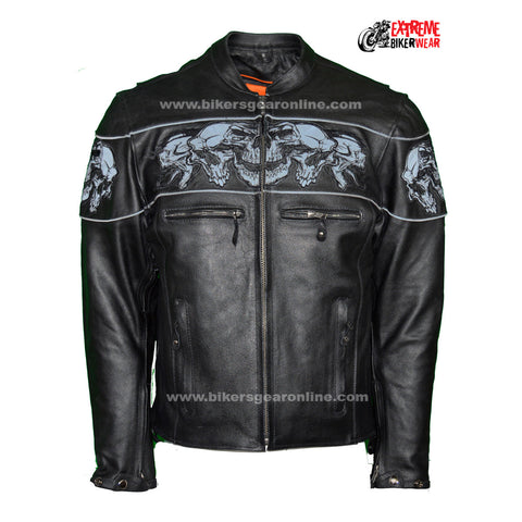 MEN'S MOTORCYCLE REFLECTIVE SKULL LEATHER JACKET W/GUN POCKETS