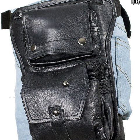 Motorcycle Riding Blk Leather riding fancy gun holster thigh Waist bag purse