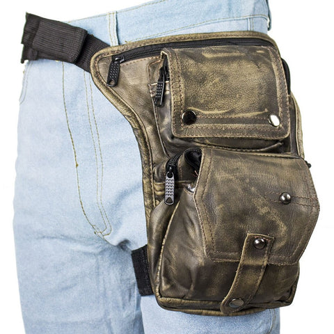Motorcycle Distressed Brn Leather riding fancy gun holster thigh Waist bag purse