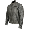 Mens Motorcycle Distressed Gray Scoter Riding Leather Jacket with Kidney padding back & Vents