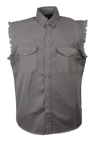 Men's Motorcycle Grey Cotton Half Sleeve Cut off shirt with fryed sleeves