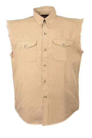 Men's Twill Baige color Cotton Half Sleeve Cut off shirt with fryed sleeves
