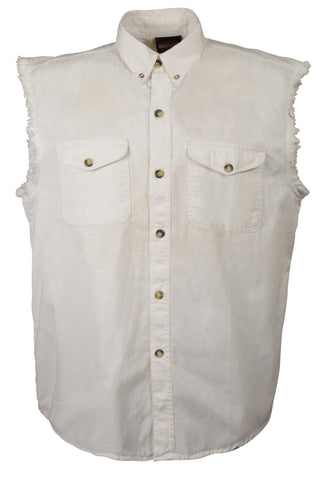 Men's Motorcycle White Cotton Half Sleeve Cut off shirt with fryed sleeves