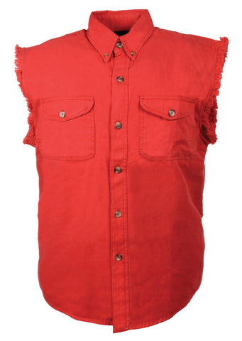 Men's Motorcycle Red Cotton Half Sleeve Cut off shirt with fryed sleeves