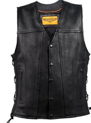 Men's Motorcycle Club vest Side lace leather vest with 2 Gun pockets inside.