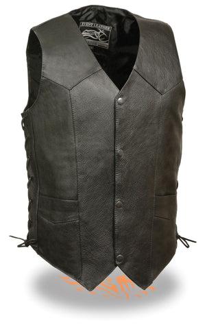 Men's Plain Snap button classic leather vest with four total pockets & Side Laces