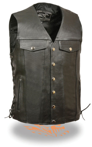 Men's Motorcycle Leather Vest Chest pockets with Side Laces & 2 Gun Pockets inside