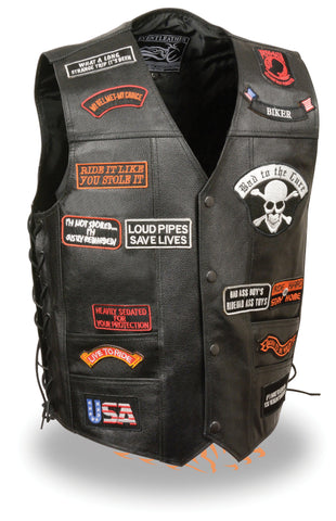 Men's Motorcycle Blk Side Lace Prepatched leather vest with 23 patches