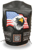 Men's Motorcycle Blk Side Lace Eagle & Flag prepatch leather vest 2 gun pockets