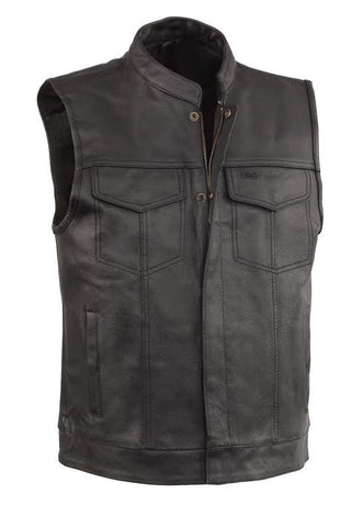 Men's Biker riding son of anarcy club leather vest single panel back