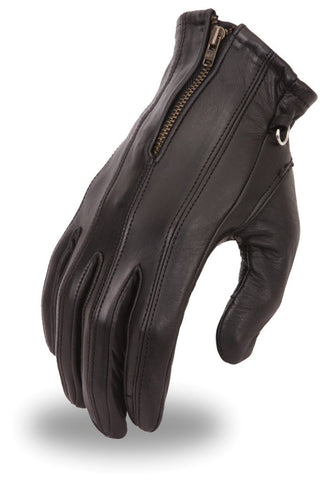 Motorcycle Ladies Blk Soft leather gloves with Zipper gel palm