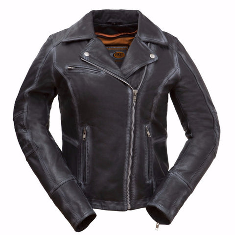 Women's Biker Distressed Seam Look Arcadia Blk Vented Zipper Leather Jacket Thick Leather