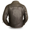 Men's Motorcycle updated biker old school leather jacket police style with belt