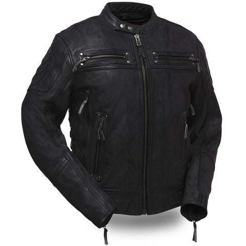 Mens Motorcycle Scoter blk Warrior vented leather jacket with intricate detailing