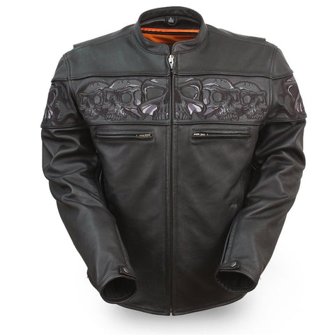 Men's Motorcycle High visibility reflective skull leather jacket thick leather