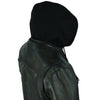 Men's Light weight Vendetta Blk Lamb Skin Leather Jacket with Removable Hoodie
