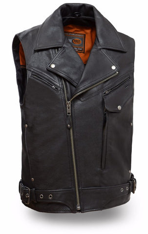 Men's Motorcycle Reckless updated utility leather vest with front pistol pete pocket