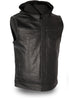 Men's Blk Son of Anarcy Patch holder Leather Vest Premium Soft Leather with Huddy