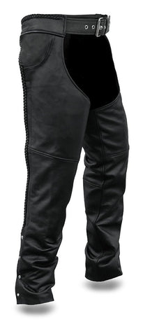 Men's motorcycle Riding Braided thick 2 jean pockets blk leather chap soft leather