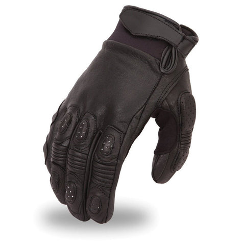 Men's Biker Motorcycle crossover race leather gloves with grip panels