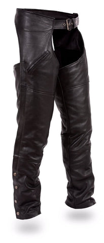 Men's motorcycle Riding Slant Deep pocket blk leather chap