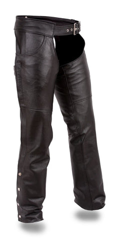 Men's Biker riding unisex Jean pocket style leather chap blk soft leather
