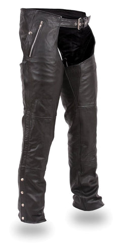Men's motorcycle 2 Ultra deep pocket chap with Removable liner Blk