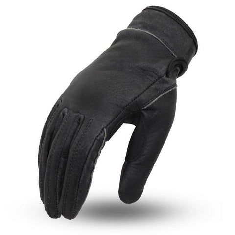 Men's Biker riding unlined Leather gloves with paded palm velcro wrist closure
