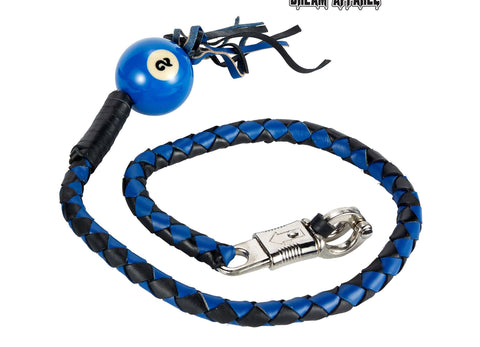 "Motorcycle 42"" Long Old School Get Back whip Blk & Blue Color with 2 Blue Pool Ball"