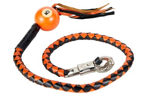 "Motorcycle 42"" Long Old School Get Back whip Blk & Orange Color with 5 Orange Pool Ball"