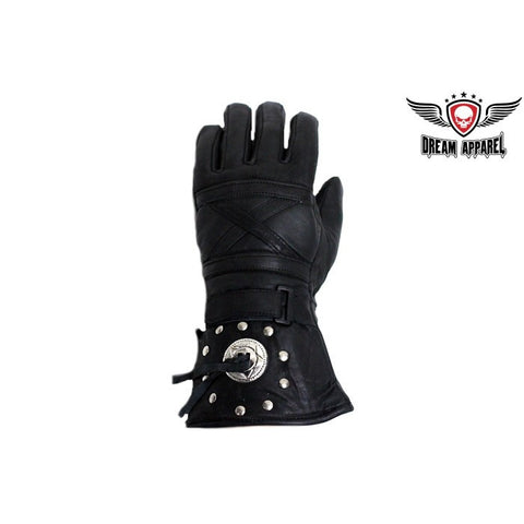 Men's Motorcycle Long Guantlet Lined gloves with Conchos and Studs