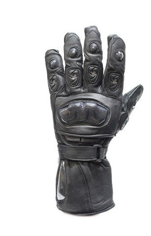 Men's Motorcycle Hard Knuckle ultra long leather gloves with Velcro closure