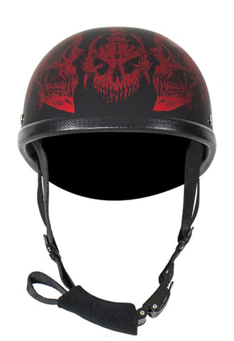 Motorcycle Riding Eagle Flat Novelty Non Dot helmet with Red Horned Skeletons