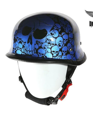 Motorcycle riders German Blue Graveyard Skull Novelty Helmet