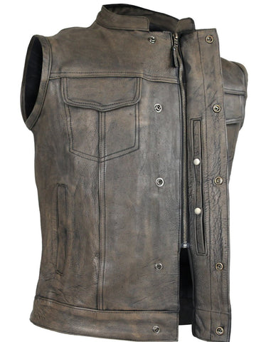 Mens Distressed brown high Zipper Son of anarchy leather vest with exterior Gun Pocket