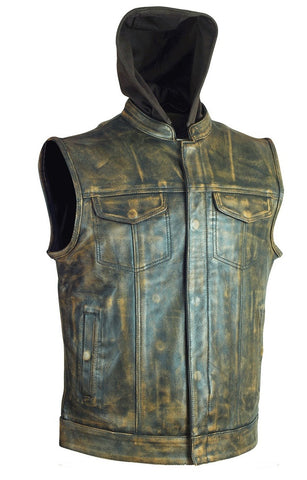 Men's Distressed Brn Son of Anarcy Patch holder Leather Vest Premium Soft Leather with Huddy