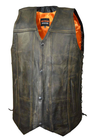 Men's Motorcycle biker distressed retro brn 10 pocket soft leather vest