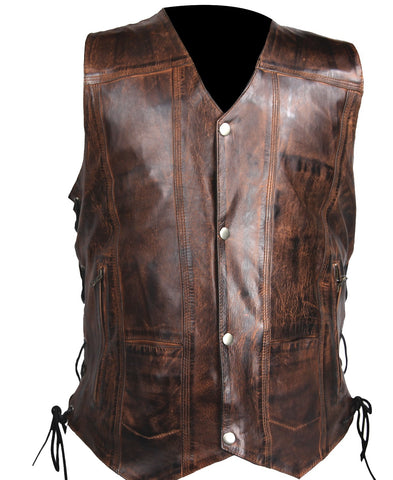 Men's Vintage Brn Light weight 10 Pocket Leather Vest with 2 Gun pockets