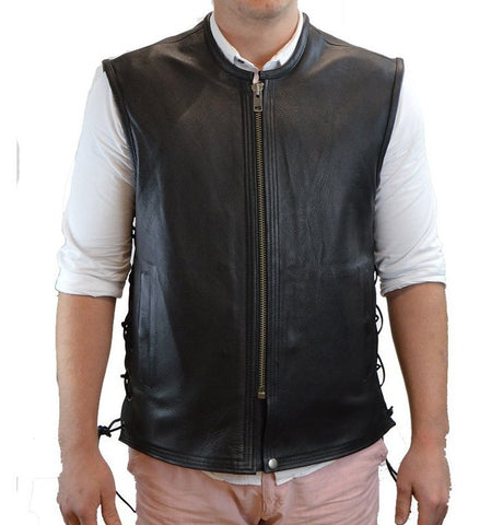 Mens Motorcycle Platinum Butter soft Thick leather seamless vest with High zipper and Laces